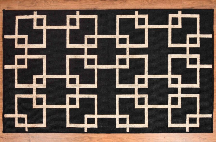 Buy GEOMETRIC BLACK RUGS Online in India